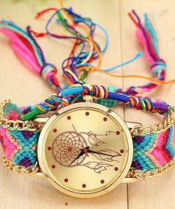 Montre Femme Dreamcatcher Bracelet Tressé à la main