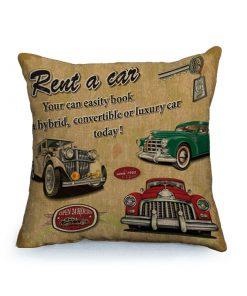 Housse de coussin vintage et rétro thème voitures classique 4